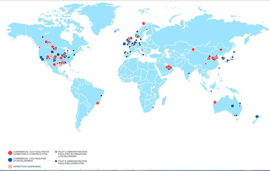 CCUS-létesítmények világszerte