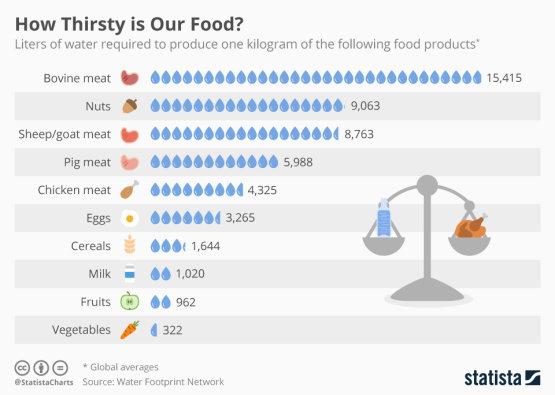 Mennyi víz kell az élelmiszerek előállításához?