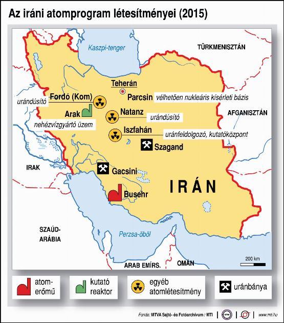 Az iráni atomprogram létesítményei - infografika